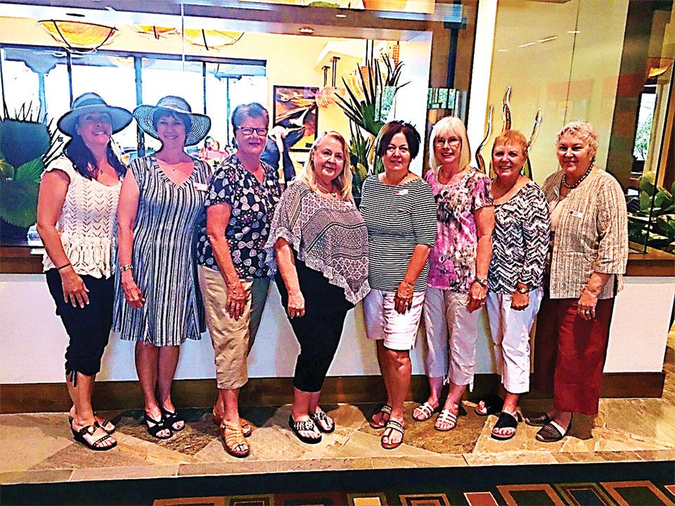 June new members, left to right: Maia Schenkel, Camille Esterman, Cheryl Murray, Kathy Prichett, Janet Baker, Rebecca Call, Linda Zoellner and Cheryl Reddy