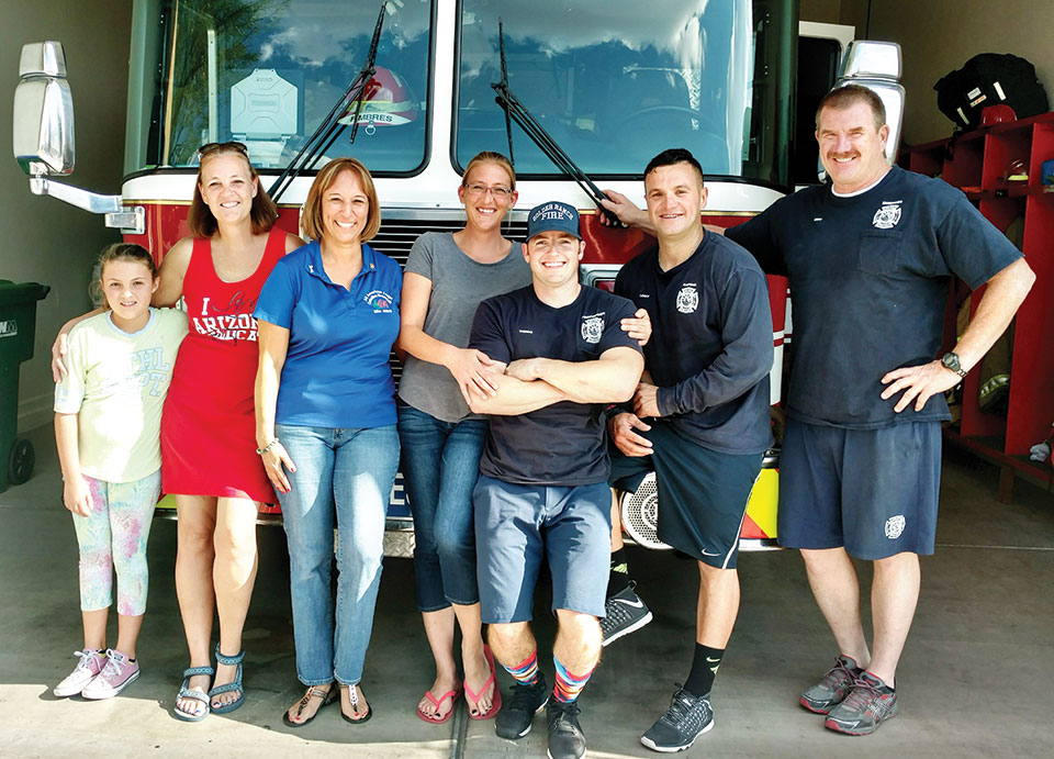 Pictured at SaddleBrooke Ranch fire station are, from left: Kayla Hudson, Cheryl Hudson, PER Gloria Cisneros, Brooke Hudson, Thomas Matthews, Capt. Lenny Fimbres and Cory Kapple.