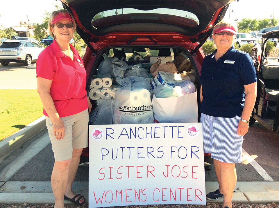 Jeannie and Marian Bianchini's SUV filled with the donations; photo by Deb Lawson