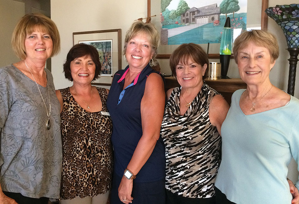 Lady Niners Management Team: MaryAnn Nemecek, Diane Seyl, Ardie Rossi, Janice Neal and Judy Smith (not pictured: Jeannie Bianchini).