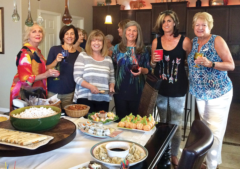 Connie Garrison, Lynn Fidler, Karen Lanning, Sandy Noble, Denise Sandoval and Carolyn Blake enjoying the delicious appetizers.