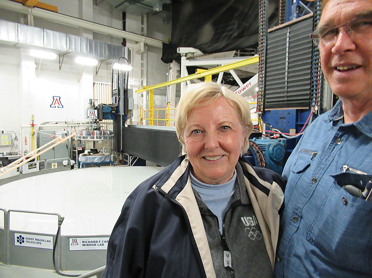 Rancheros Don and Rebecca Williams overlook one of the glass bases being precision polished for the Giant Magellan Telescope.