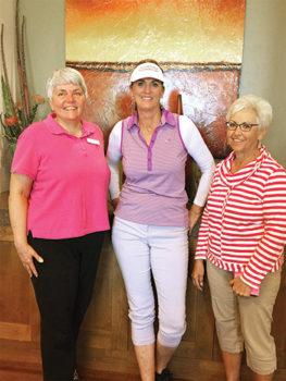 From left to right: Doris Carlin, Denise Sandoval and Edie Kellogg; Photo by Linda Sentivanac.