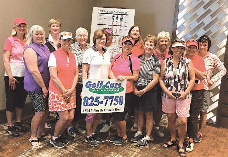 President's Cup winner and Flight Winners. Front row: Sterlyn Robertson, Jeanne Osterlund, Janice Mihora, Mary Snowden, Linda Sherfy; Back row: Mary Anderson, Kate Thomsen, Jeanne Jensen, Cheryl Reddy, Cheri Alfrey, Brenda Armenia, Melanie Timberlake, Norma Barnes, Alison Livett; Not pictured: Alex Anna and Sue Wells.