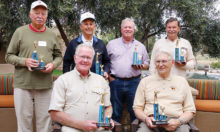 Top shooters from each community at the 2019 Robson Trap Trials. Back row (left to right): Ron Schroer, Robson Ranch; Ted TenBroeck, Sun Lakes; John Hastings, SaddleBrooke; Al Klug, Quail Creek; Seated: Jim Pollock, PebbleCreek and Al Swenson, SaddleBrooke Ranch.