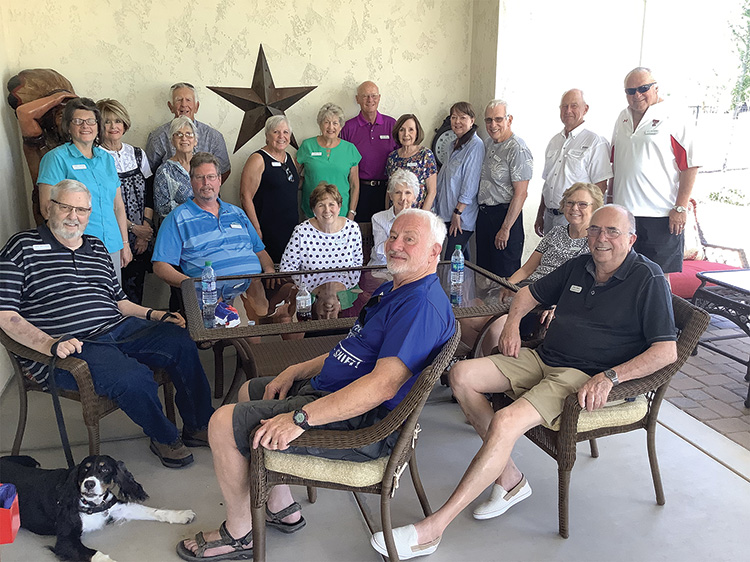 Members of the Texas Club gathered for an afternoon of friendship and ice cream. Left to right and clockwise: Jerry Dodson, Celia Vertnik, Judy Dodson, Bill Fisher, Consuelo Melhuish, Bernie Vertnik, Linda Zoellner, Irene Keil, Janelle Authur, Bill Keil, Judy Fisher, Nancy Heck, Bobbie Vertnik, Jim Spiegel, Tony Zoellner, Larry Burchfield, Flo Kirchner, Ron Heck, Tom Kirchner and the Dodson family dog, Jefferson. Photo by guest Bob Authur.