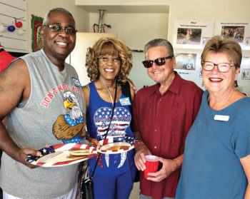 Brand new neighbors, Lionel and Debra Crenshaw, with hosts Patrick and Cheryl Murray.