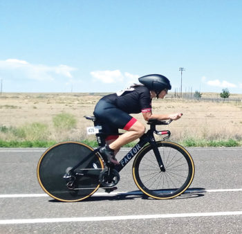 Sun Lakes resident, Kim Soule, competing in the cycling time trials.