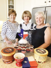 """Left to right: Janelle Authur, Judy Dodson and Linda Zoellner co-hosted the Texas Club event, """"Bluebonnets and Blue Bell,"""" along with husbands Bob, Jerry and Tony."""