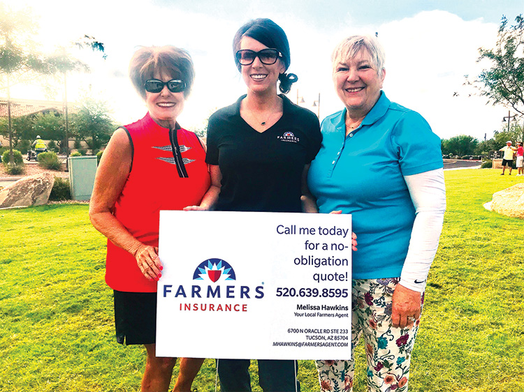 Thank you to our sponsor again this year, Melissa Hawkins with Farmers Insurance. She is joined by Mindy Hawkins, social chair, and Cheryl Reddy, sponsorship chair.