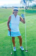 Toni Graves aces number 14 during the Sadie Hawkins event.