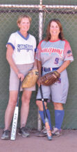 Mary Schneck (left) and Janice Mihora play senior softball for the fun, competition, exercise, and camaraderie.