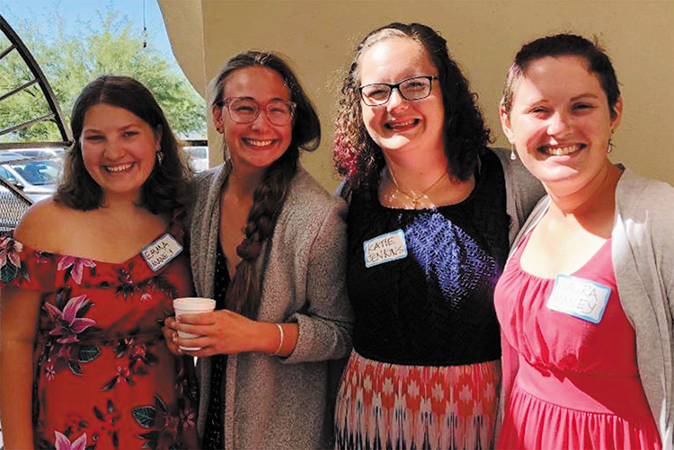 Emma, Haley, Katie, and Laura at MSPC share their experiences with congregants.