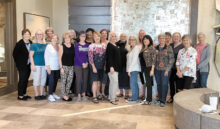 Participants are (left to right) Janelle Authur, Gale Hall, Elaine Brown, Betty Ryan, Janice Neal, Kate Thomson (third place overall tournament), Gail Latimer, Judie Townsend, Alyce Grover, Debbie Shelton (first place overall tournament), Brenda Pooler, Bonnie Goldman, Sharon Farber, Nancy Stirling (tied for second place overall tournament), Linda Sentivanac, Kathy Keasling (tied for second place overall tournament), Marie Astaire, Monica Gustafson, Nancy Carol, and Rainie Warner.