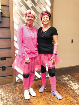 "Barb Simms and Charlotte Graham got into the theme of ""Girls Just Wanna Have Fun."""