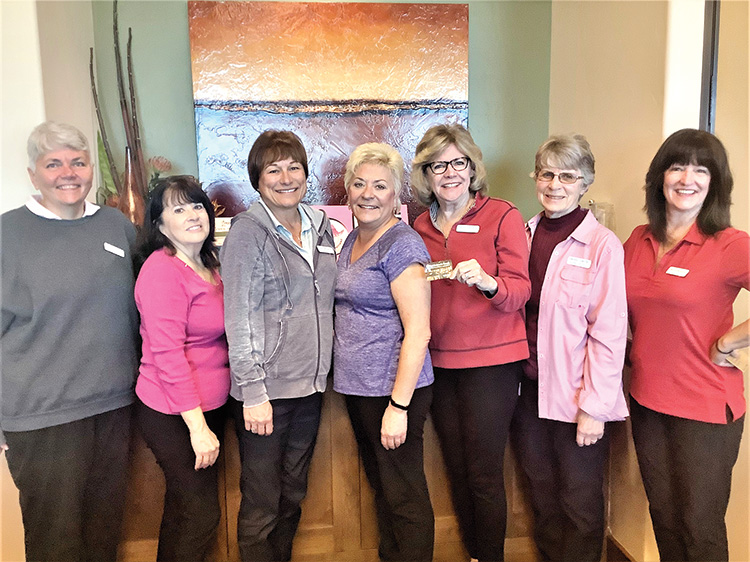 Left to right: Doris Carlin, Linda Sentivanac, Corky Mansmith, Roxanne Watson, Pam Engelhardt, Sandy Getter, and Michelle Musgrove; Photo by Camille Esterman