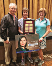 Golf Pro Mike Jahaske, Tournament Winner Marci Whitehead, and SBRWGA President Jeanne Osterlund