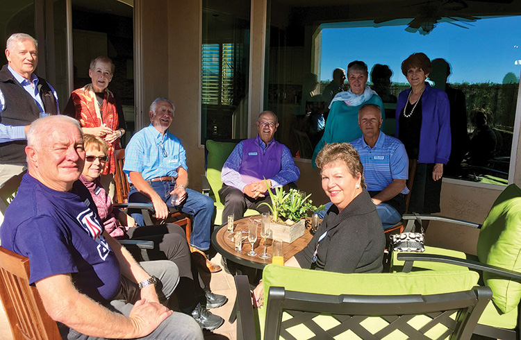 """""""Before"""" picture with Tom Kirchner, Flo Kirchner, Bill Fisher, Terry Pettijohn, Randy Graham, and Charlotte Graham (sitting left to right) and Bob Drury, Barbara Drury, Linda Harvey, and Phyllis Pettijohn (standing left to right) (Photo by Judy Fisher)"""