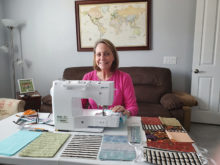 Nancy Olsen stays busy sewing face masks.