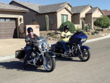 Leslie and Les Brown enjoy the open road on their motorcycles.