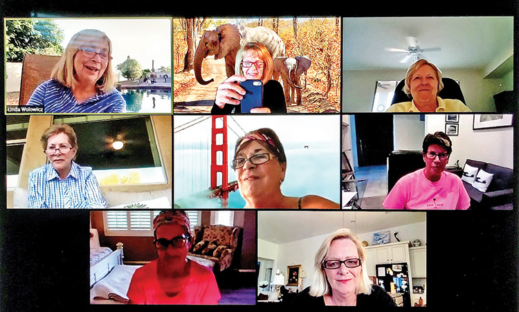 May Zoom wine group meeting: Linda Wolowicz, Arlene Wong, Rebecca Williams, Marlene Diskin, Mary Spyros, Bev Hanson, Janice Mihara, and Susan Swanson; not pictured but part of the group: Terry Barringer, Marlene Jolly, and Linda Thompson