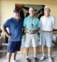 The winning team for the 2020 Unit 8A Rick Dahlin Memorial Tournament, at nine-under par, just one stroke better than the second place team, was: (left to right) Dave Blaess, Guy Shelton, and Brian Cowman.