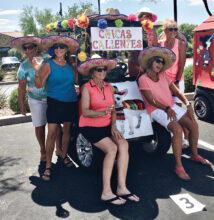Winning team and third place cart decorators, Chicas Calientes: Shirley Purcell, Carol Mihal, Susan Ness, Marci Whitehead, Phyllis Pettijohn, and Beth Chamberlin (not pictured: Pilar Borm)