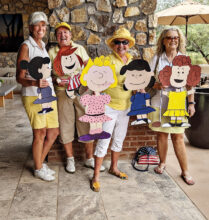 Birdie Dogs teammates Pam Horwitt, Cheri Alfrey, Nancy Hugus, and Carole Ericksen