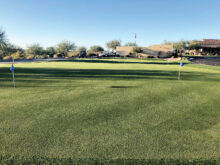 The green is empty and in prime condition, waiting for the Ranchette Putters to resume play! (Photo by Camille Esterman)
