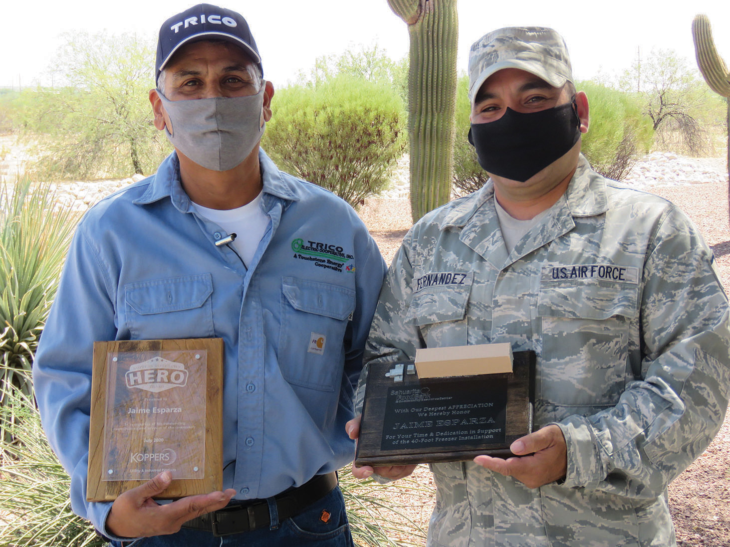 Jaime Esparza and Omar Fernandez served in the military together. Omar is a Master Sergeant in the Air National Guard.