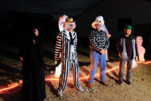Left to right: Unit 8A Ghostbusters Debbie Chapman, Paul Thomsen, Dennis Eckmeyer, and Dick Ryan spun inventive and ghoulish tales based on Oracle history and Ranch life during the Walking Ghost Tour.