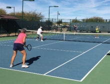 Mixed doubles on Court 3 sees Sue Cook and Chip Kerth (nearside) take on Anita and Terry Zimmerman on another gorgeous February morning at SaddleBrooke Ranch.