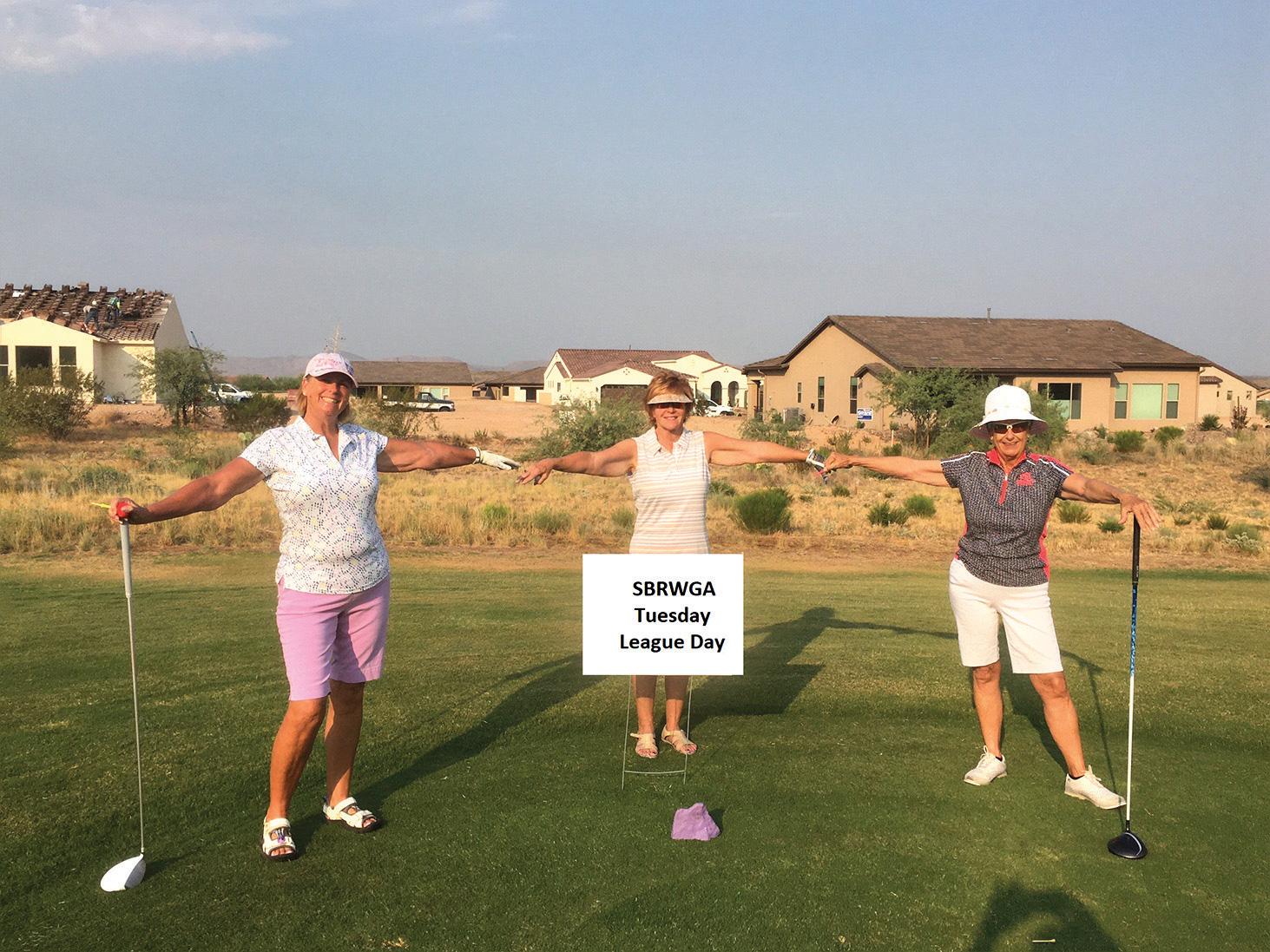 SBRWGA golfers social distancing (left to right) Monika Bartko, Judy Callahan, and Mary Snowden.