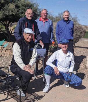 SBRMGA men wish happy birthday to Dr. Ed; back row, left to right: Dr. Ed, Bob Soucek, and Bill Lockett; front row: Bruce Fink and Mick Borm