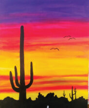 Arizona sunset in acrylics